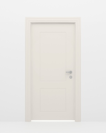 The closed white door and light behind a door Stock Photo