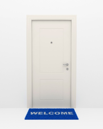 front door: The closed white door and blue rug with an inscription: Welcome. Stock Photo