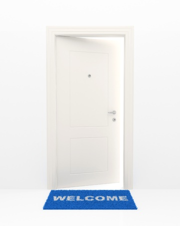 welcome door: The slightly opened white door and blue rug with an inscription: Welcome.