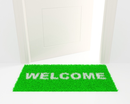 The slightly opened white door and green rug with an inscription: Welcome.