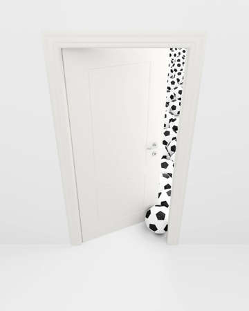 Balls for game in soccer behind the slightly opened white door  photo