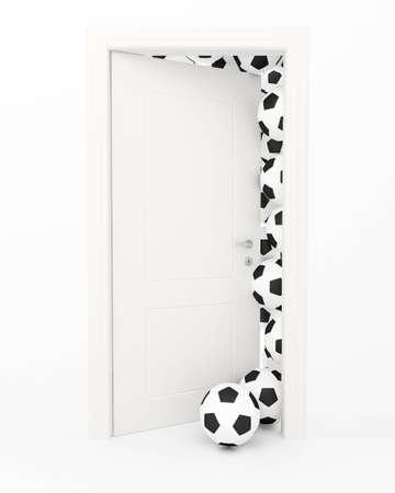 doorstep: Balls for game in soccer behind the slightly opened white door