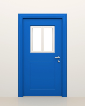 closed door: The closed blue door with the closed white window