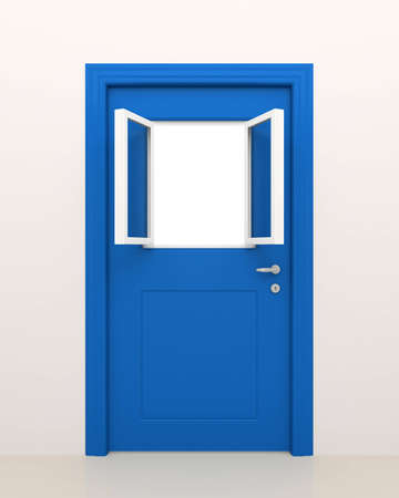 empty keyhole: The closed blue door with the open white window