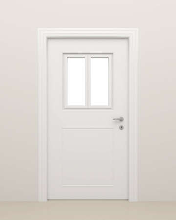 glass doors: The closed white door with the closed white window