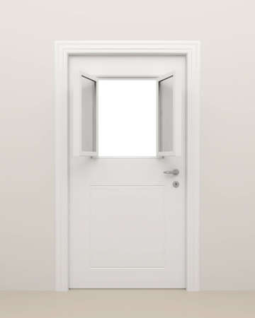 empty keyhole: The closed white door with the open white window  Stock Photo