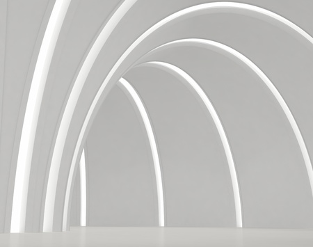 foyer: Empty round white hall with light strips