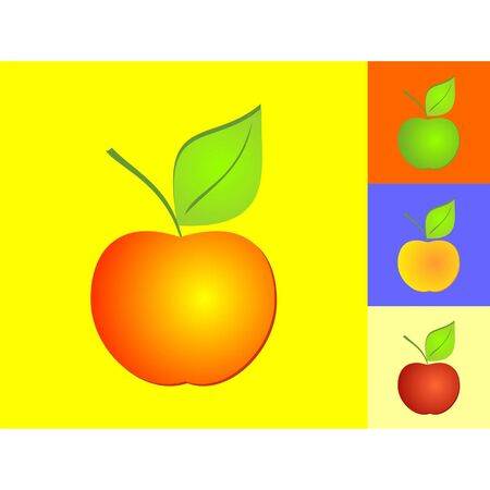 abloom: ripe apple on the colour background Illustration