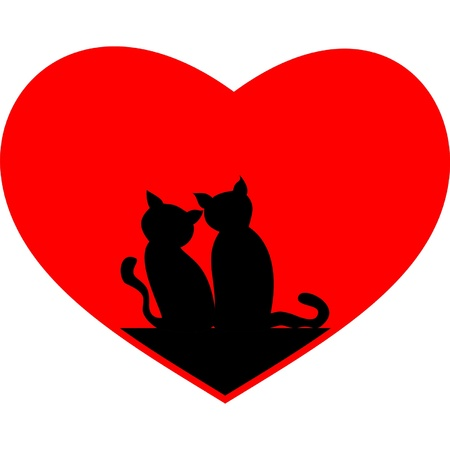 black cats heart Stock Vector - 13075465