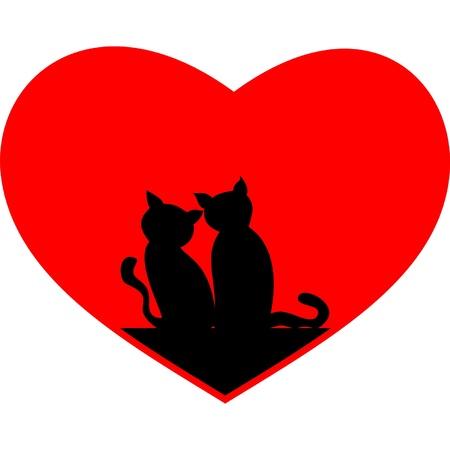 chaton en dessin anim�: noir coeur chats