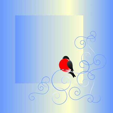 Bullfinch and a winter pattern  A frame  A vector illustration  Stock Vector - 13106031