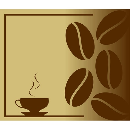 coffee beans: Steaming hot coffee in cup  Illustration