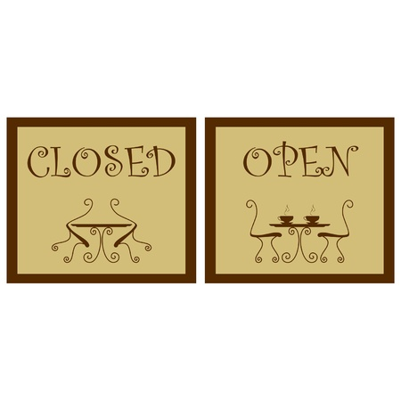 Signboard in cafe - open, closed