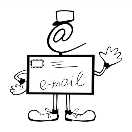 send email: vector hand drawn characters line - colored cartoon - postman Illustration