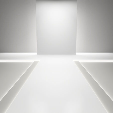 catwalk: Empty white hall with a podium for fashion display