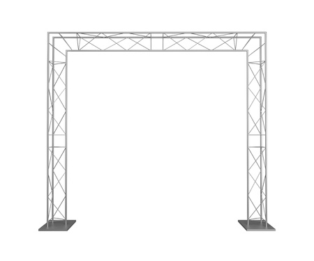 business exhibition: Advertizing design from metal trusses. Isolated on a white background. Stock Photo