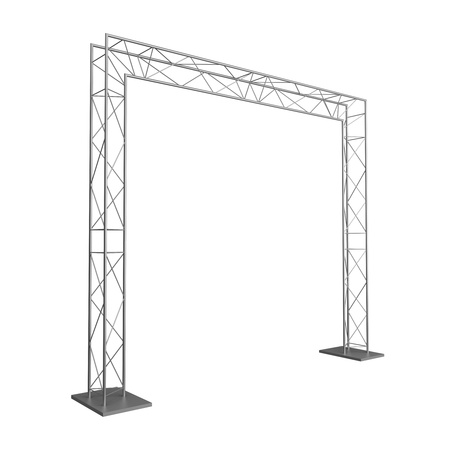 Advertizing design from metal trusses. Isolated on a white background. photo