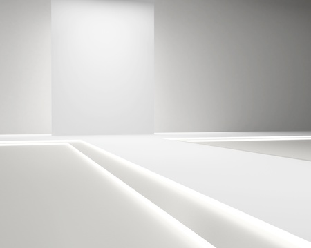 fashion runway: Empty white hall with a podium for fashion display