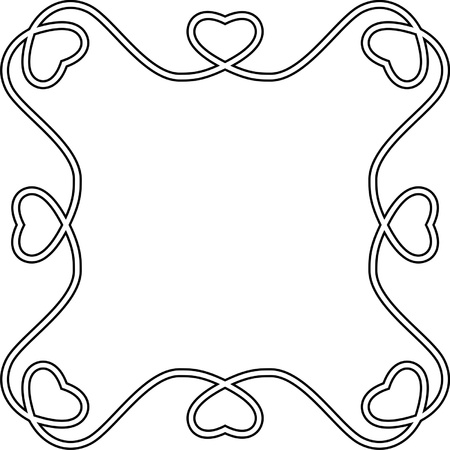 Organic frame with hearts, one color Stock Vector - 13238588