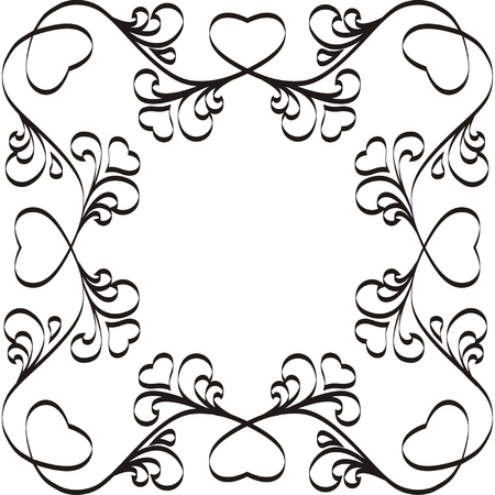 Organic Frame With Hearts, One Color Royalty Free Cliparts, Vectors ...