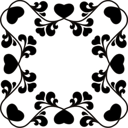 Organic frame with hearts, one color Vector