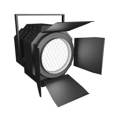 Shining searchlight  Isolated on a white background  Stock Photo