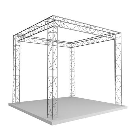 Werbe-Design aus Metall Traversen auf einem weißen Hintergrund isoliert