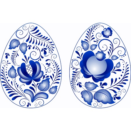 Eggs easter in gzhel style  Gzhel  a brand of Russian ceramics, painted with blue on white  Vector