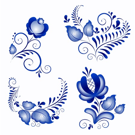 Russian ornaments in gzhel style  Gzhel  a brand of Russian ceramics, painted with blue on white  Vector
