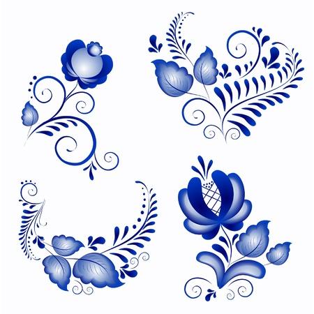 Russische Ornamente in gzhel Stil Gzhel eine Marke der russischen Keramik, mit blau auf weiß gemalt