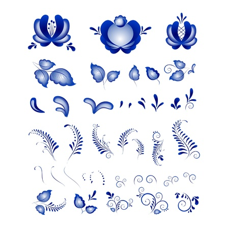 russian blue: Russian ornaments in gzhel style  Gzhel  a brand of Russian ceramics, painted with blue on white