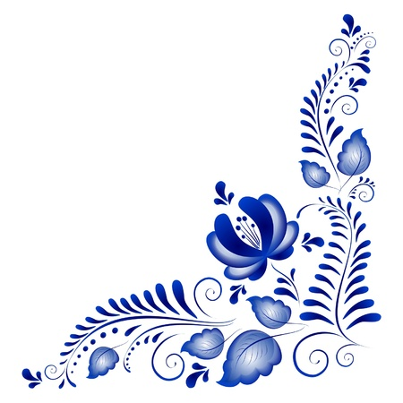 Russian ornaments in gzhel style  Gzhel  a brand of Russian ceramics, painted with blue on white Stock Vector - 13330606