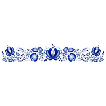 Russische ornamenten in Gzhel stijl Gzhel een merk van Russische keramiek, beschilderd met blauw op wit Vector Illustratie
