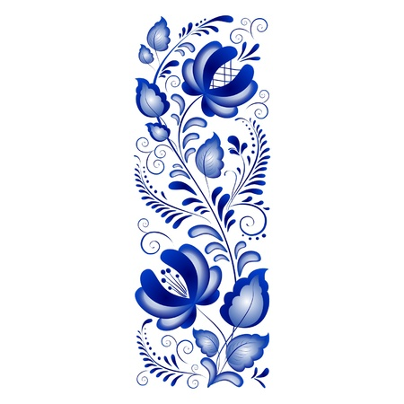 Russian ornaments in gzhel style  Gzhel  a brand of Russian ceramics, painted with blue on white Stock Vector - 13330607