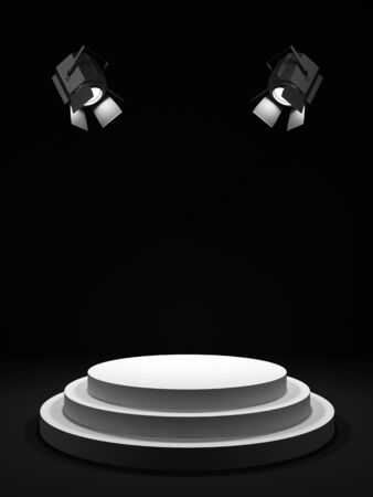 awards ceremony: Empty round white stage in the dark room, shined with searchlights  Stock Photo