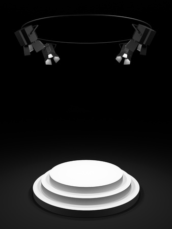 limelight: Empty round white stage in the dark room, shined with searchlights  Stock Photo