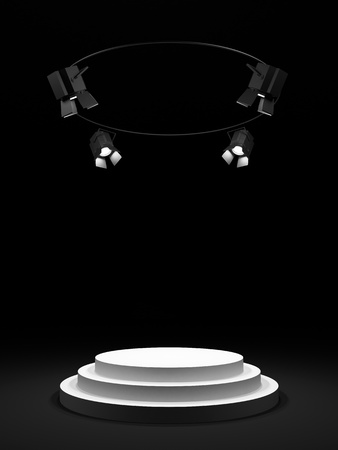 Empty round white stage in the dark room, shined with searchlights  Stock Photo