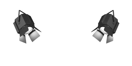 Two shining searchlights isolated on a white background.