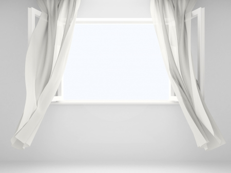 Open window with the curtains developed by a wind.