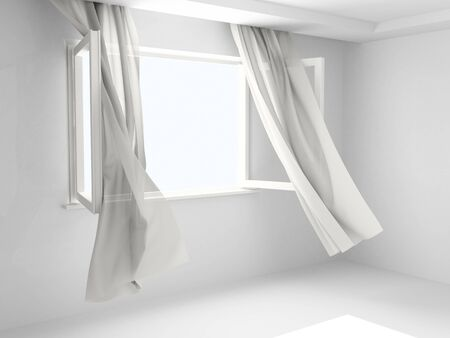 curtain: Window with the curtains developed by a wind.