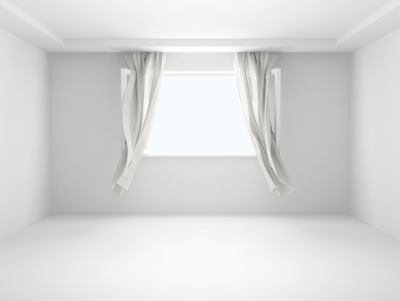 Room with an open window with the curtains developed by a wind. Stock Photo