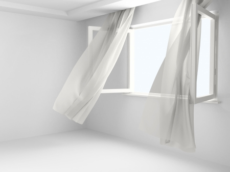 developed: Open window with the curtains developed by a wind in an empty room. Stock Photo