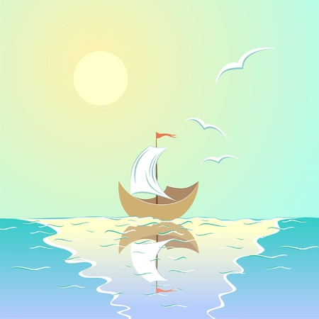 Sea landscape, ship with sail, the sun, seagulls Stock Vector - 13845790