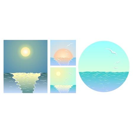 Sea backgrounds  the sea, the sun, seagulls, the moon Stock Vector - 13845794