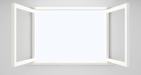 Open double casement window in an empty white room.