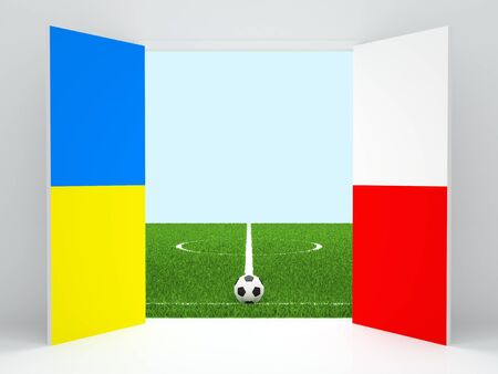 Open doors on stadium with a ball. An illustration to the European championship on football. illustration