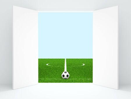 The open doors conducting on football stadium