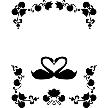 A picture of pair of black swans with an edge Vector