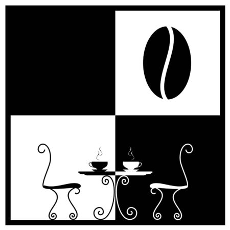Coffee cup on a table. Logo for cafe Illustration