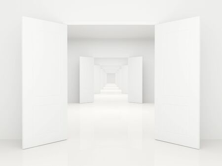 open doors: Largo pasillo con las puertas abiertas blancas, dejando lejos. Foto de archivo